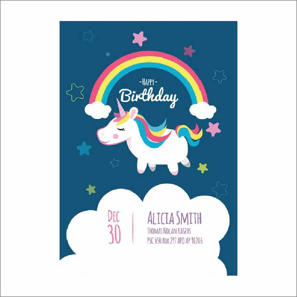 Birthday Party Card With Unicorn Pack Of 20