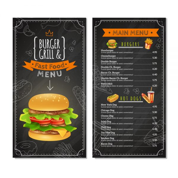 BURGER Grill Fast Food menu card printing online in in India and Near me