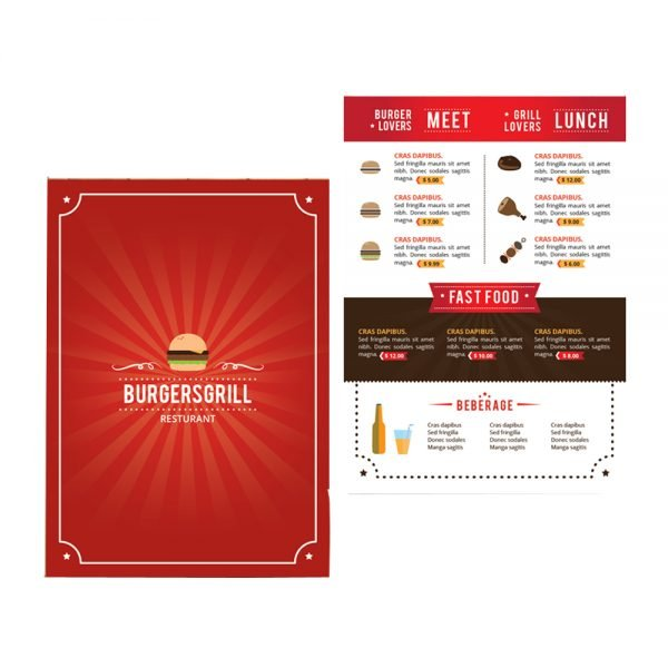 BURGER Grill menu card printing online in in India and Near me1