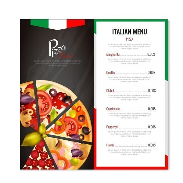 Pizza Restaurant menu card printing online in in India and Near me