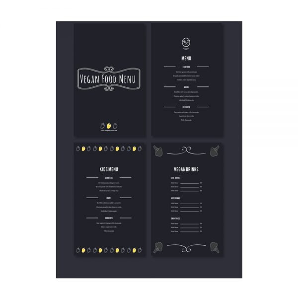 Vegan food menu card printing online in in India and Near me1
