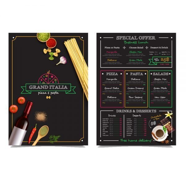 italian Restaurant menu card printing online in in India and Near me