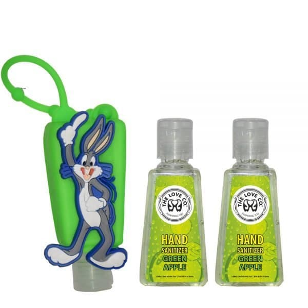 The Love Co. Hand Sanitizer Pack Of 2 (Green Apple) 30 ml With Bag Tag (Bugs Bunny Green)
