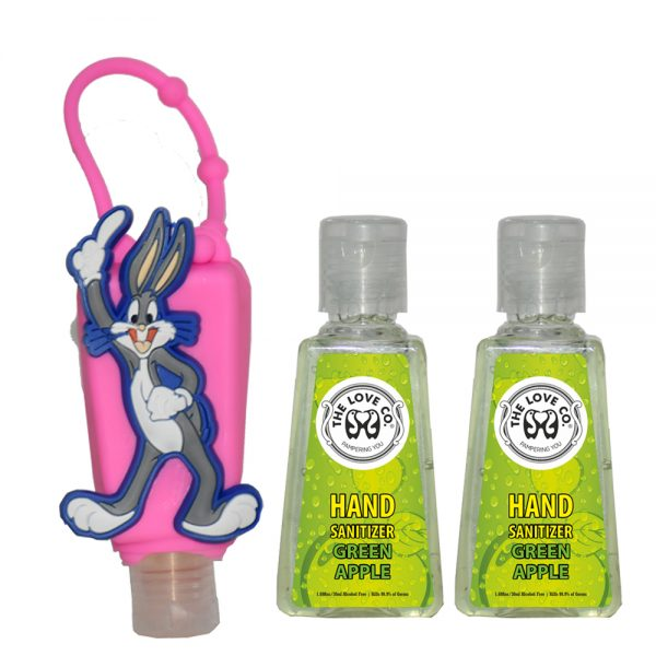 The Love Co. Hand Sanitizer Pack Of 2 (Green Apple) 30 ml With Bag Tag (Bugs Bunny Pink)