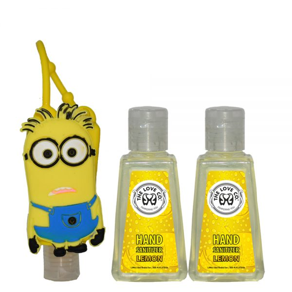 \The Love Co. Hand Sanitizer Pack Of 2 (Lemon) 30 ml With Bag Tag (Mark the minions Yellow)