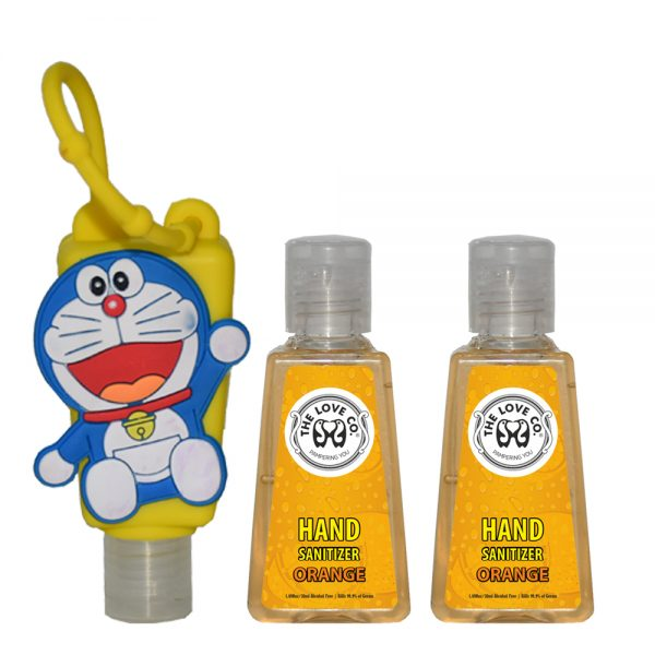 The Love Co. Hand Sanitizer Pack Of 2 (Orange) 30 ml With Bag Tag (Doremon Yellow)