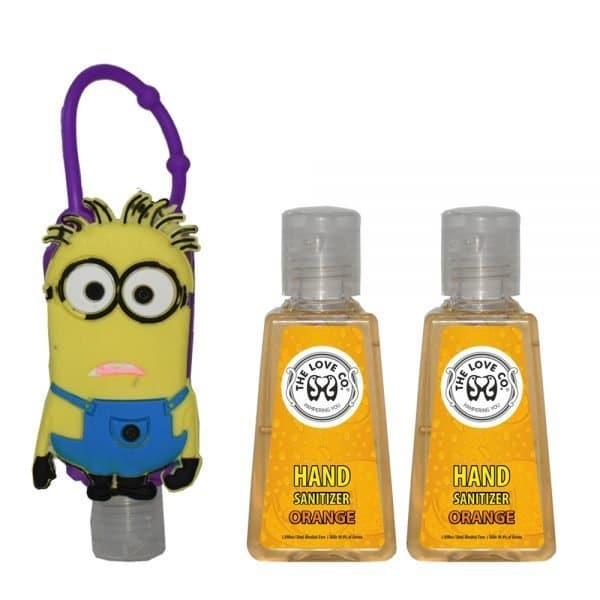 The Love Co. Hand Sanitizer Pack Of 2 (Orange) 30 ml With Bag Tag (Mark the minions Purple)
